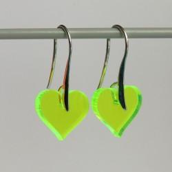 Hjerter Neon Plexi Øreringe